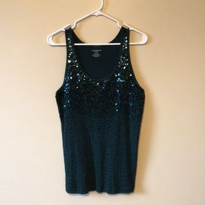 Lane Bryant Dark Green sequined tank top